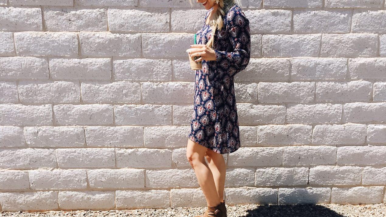 Shop the Look: Navy Blue Ikat Dress + Brown Booties