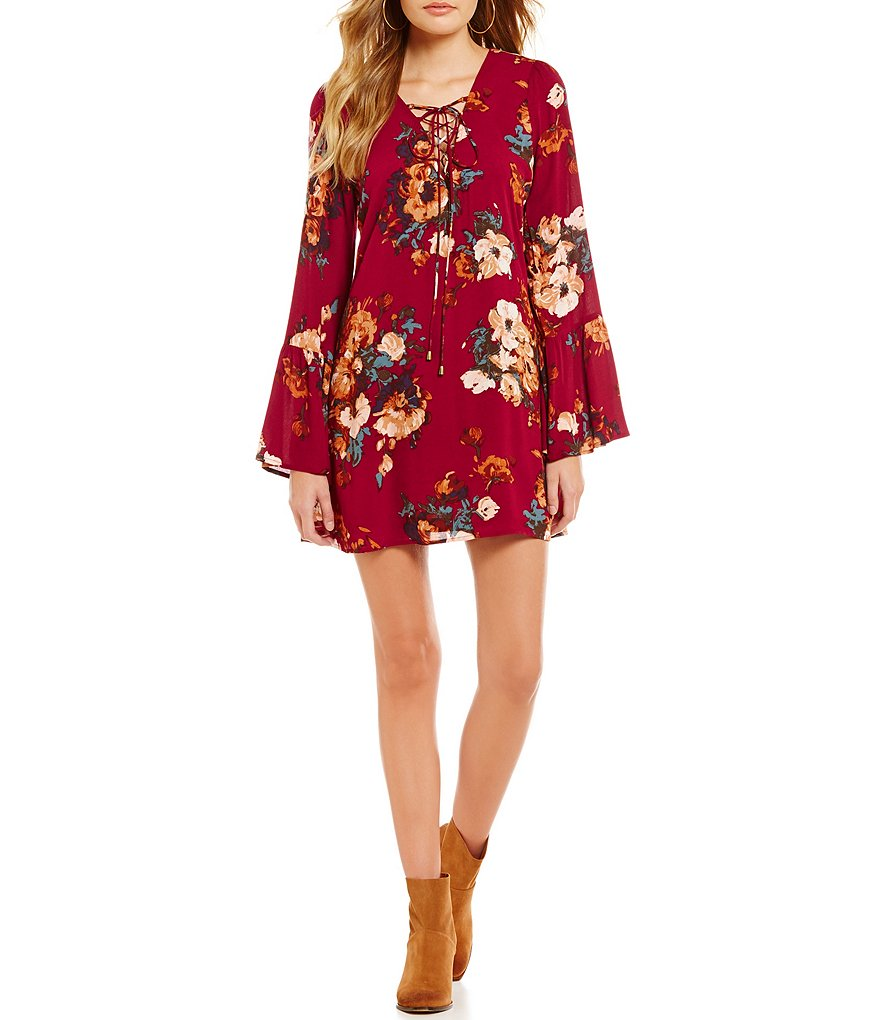 Floral Red Wine Dress