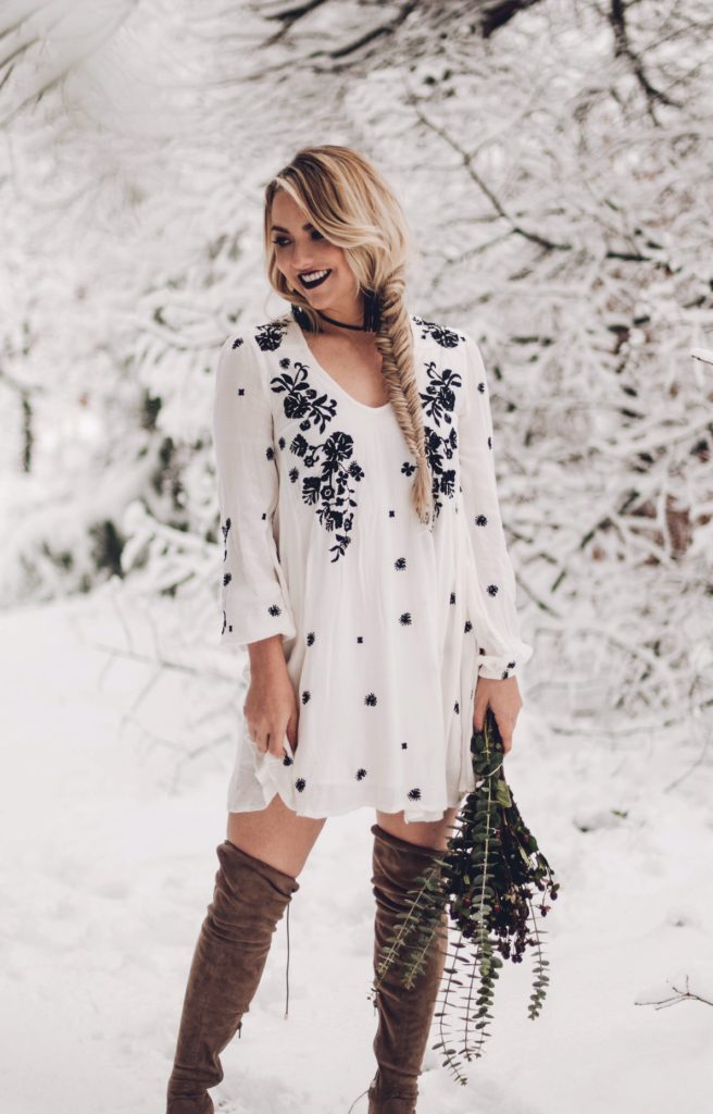 floral Free People dress thigh high boots