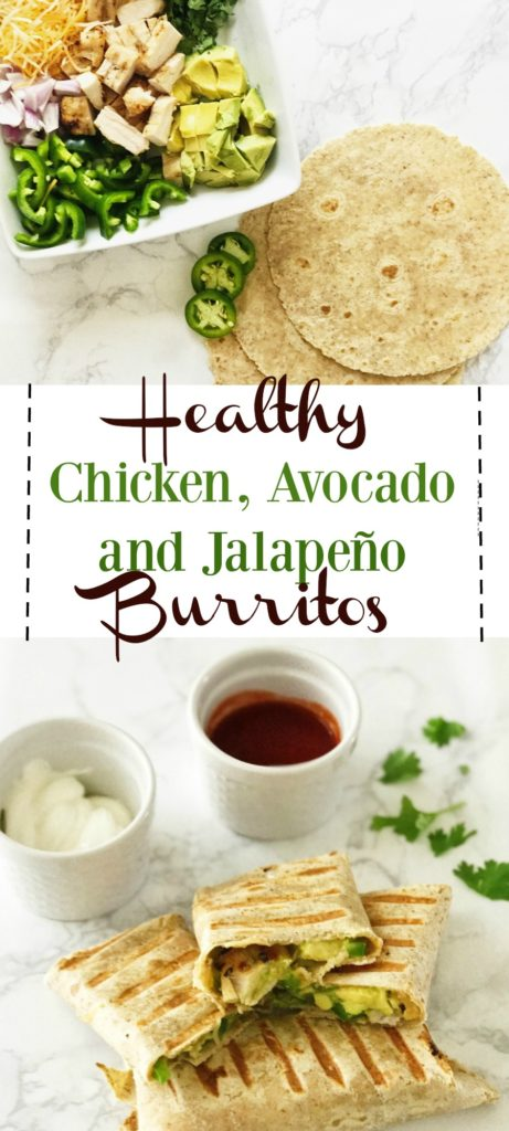 healthy chicken avocado jalapeño burritos
