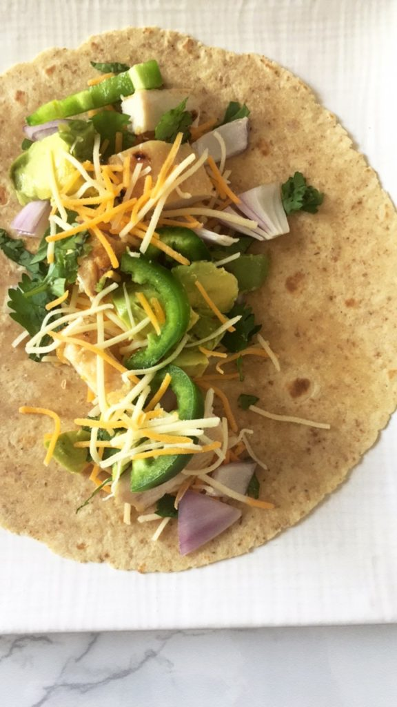 healthy chicken avocado burrito