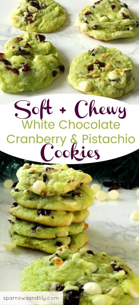 White Chocolate Pistachio Cranberry Cookies Pin