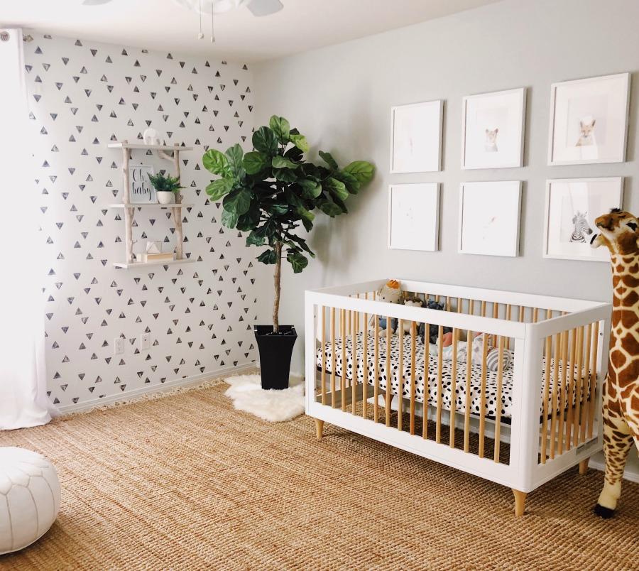 modern nursery gender neutral classic nursery baby boy baby girl room animal theme pottery barn midcentury crib fiddle leaf fig animal prints