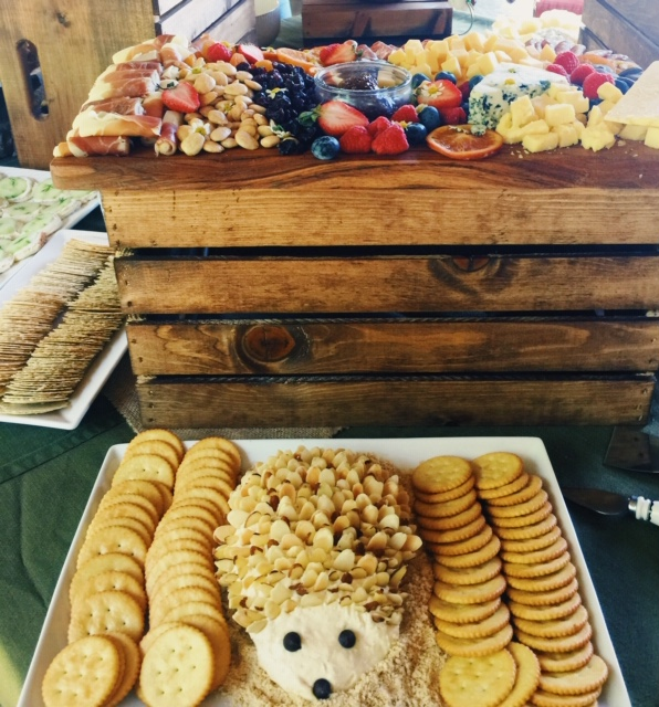 baby shower ideas, woodland themed baby shower, woodland theme, hedgehog cheeseball, creative baby shower, neutral baby shower, charcuterie, cheese board, wood, rustic party, gender reveal, baby, newborn baby, diaper bag, baby registry, hospital bag