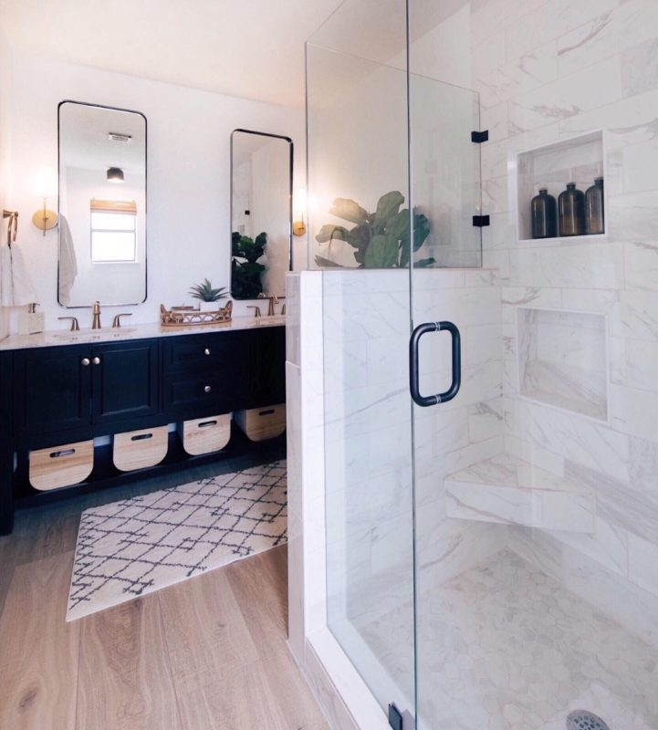 modern bathroom, modern master bathroom, bathroom renovation, fixer upper, black vanity, black mirrors, marble shower, small bathroom renovation