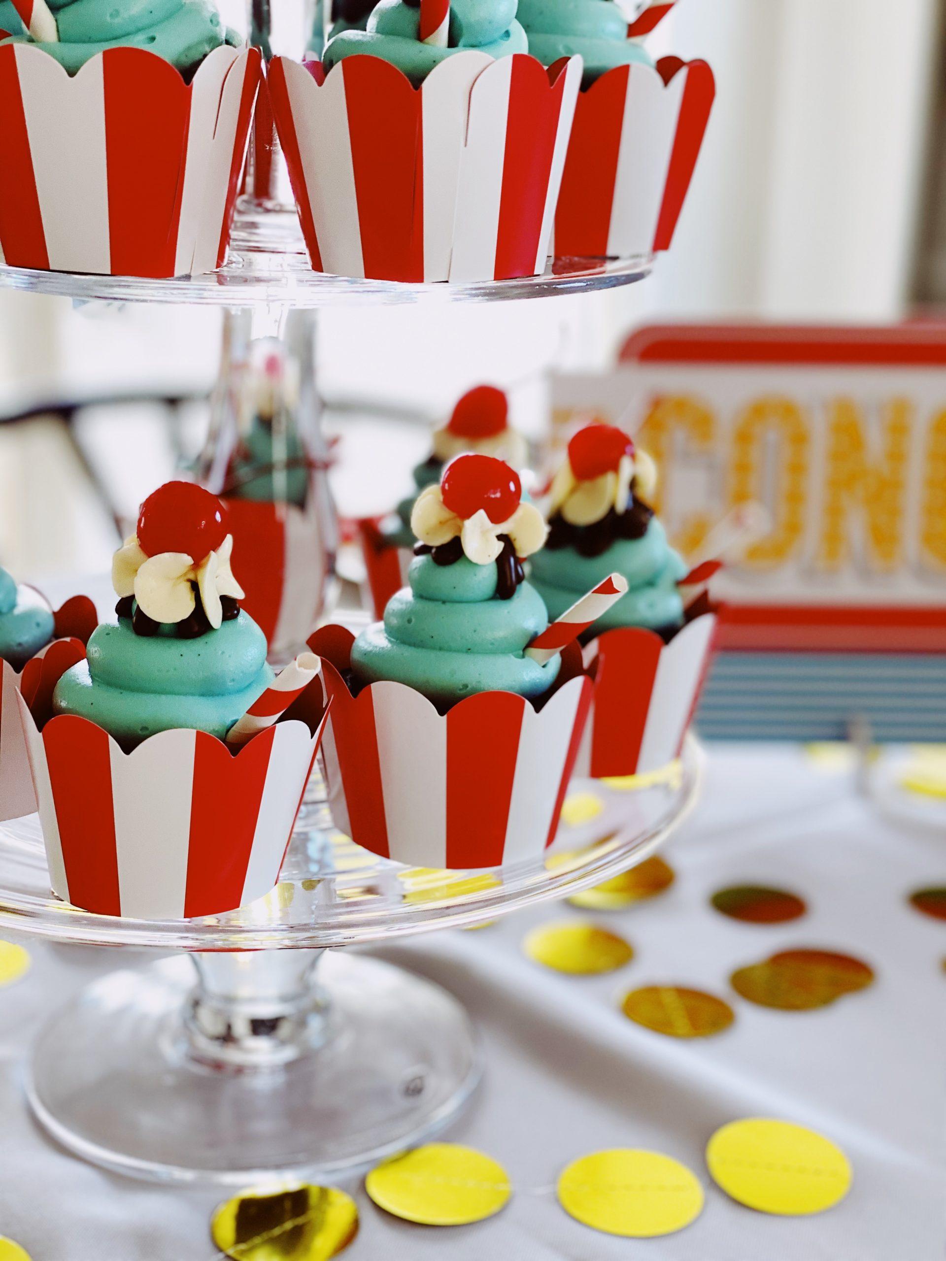 50s theme cupcakes